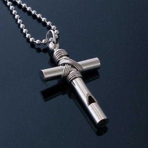 Man cross whistle titanium pendant gift new free chain 89 man cross whistle necklace gift new free chain aloadofball Image collections