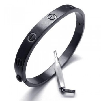 Men's Boy's Black Pure Titanium Charm Bracelet Bangle 16259