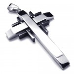 Men Black Silver Pure Titanium Cross Necklace Pendant 17695