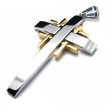 Men's Pure Titanium Cross Necklace Pendant Chain (New) 17696