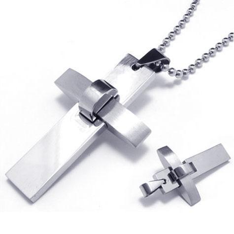 Mens Boys Silver Pure Titanium Cross Pendant Necklace