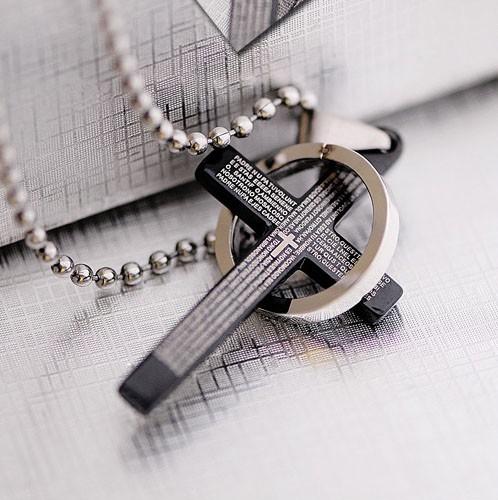 Classical black holy bible mens titanium cross pendant 97 mens titanium cross necklace mozeypictures Images