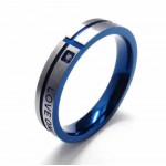 LOVE ONLY YOU Mens 4mm Blue Titanium Ring