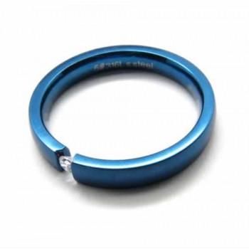 Blue Titanium 3mm Ring With Shining Diamond 163 109