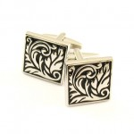 Titanium and Black IP Plated Leaf Square Cufflinks C-583