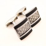 Titanium and Carbon Fibre Knitting Pattern Cufflinks C-680
