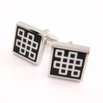 Classical Titanium Black Enamel Square Cufflinks C-765