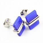 Titanium and Blue Agate Oblong Cufflinks C-512