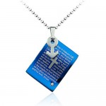 Strong Masculine Blue Titanium Pendant - Free Chain