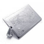 Silvery Playing Card Titanium Pendant(Q) 20145