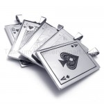 Silvery Playing Cards Titanium Pendants 20169