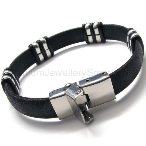 mens titanium and leather bracelet 18333 163 59 titanium