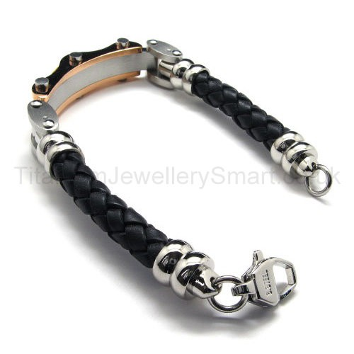 mens two tone titanium leather bracelet 18720 163 109