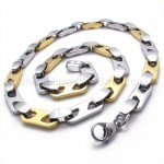 Gold Sheets Link Titanium Necklace 19792