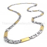 Mens Gold Sheets Link Titanium Necklace 20021