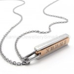 Womens Titanium With Roman Numerals Gold Pendant Necklace 20132
