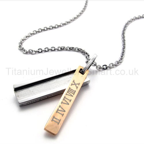 Womens Titanium With Roman Numerals Gold Pendant Necklace