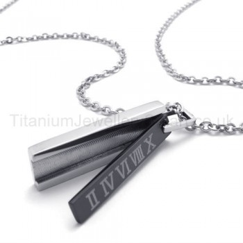 Womens Titanium With Roman Numerals Black Pendant Necklace