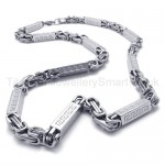 Grooved Cuboid Titanium Silver Necklace 20219