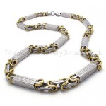 Grooved Cuboid Titanium Gold Necklace 20220