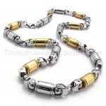 With Gold Robot Hands Link Titanium Necklace 20279