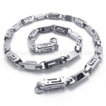 Silver Hollow Box Link Titanium Necklace 20281