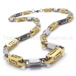 Gold Hollow Box Link Titanium Necklace 20282