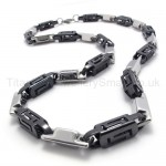 Black Hollow Box Link Titanium Necklace 20283