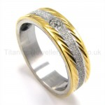 Diamond Golden Titanium Ring 19190