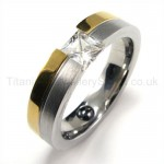 Diamond Duotone Titanium Ring 19191
