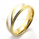 Spiral Stripes Golden Titanium Ring  19284