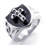 Shield Cross Titanium Ring 19296