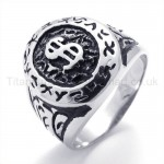 Classical Dollar Symbol Titanium Ring 19624