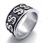 Dollar Symbol Titanium Ring 19851