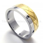Diamonds Golden Titanium Ring 19945