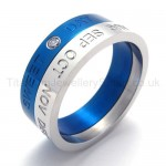 Diamond Blue Titanium Ring 20001