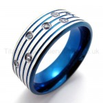 Blue Diamond Titanium Ring 20003