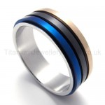 Three Colored Rotatable Titanium Ring 20008