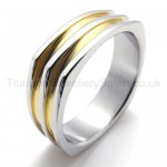 Irregular Golden Titanium Ring 20012