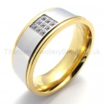 Golden Inlaid With Diamond Titanium Ring 20016