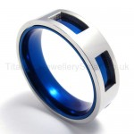 Blue Hollowed Titanium Ring 20087