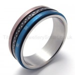 Three Loops Three colors Titanium Ring 20223