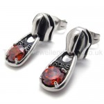 Red Diamond Retro Titanium Earrings 20338