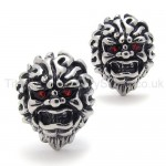 With Red-eyes Lion Retro Titanium Earrings 20344