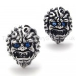 With Blue-eyes Lion Retro Titanium Earrings 20345