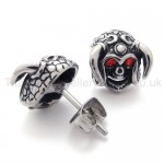 Cattle Skull With Red Eyes Titanium Earrings 20349