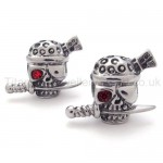 Sword and Skull With One Red Eye STitanium Earrings 20350