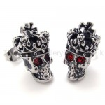 Red-eyes Crown Skull Titanium Earrings 20351
