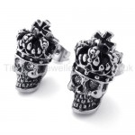 White-eyes Crown Skull Titanium Earrings 20352