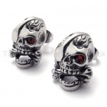 One Red Eye Skull Titanium Earrings 20355
